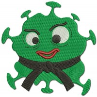 Virus Karate Comic Embroidery Design Image